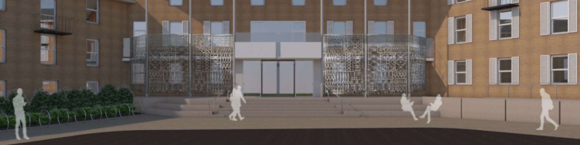 Architect's render of building exterior